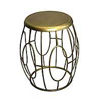 Gold Drum Metal Accent Table