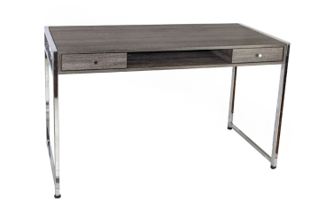 Silver and Natural Wood Writing Desk