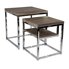 Silver and Natural Wood Nesting Tables, Set of 2