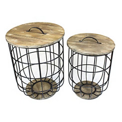 Metal and Wood Barrel Storage Tables, Set of 2