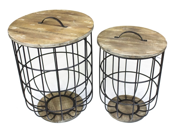 High Quality Metal And Wood Barrel Storage Tables, Set Of 2 ...