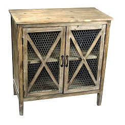 Chicken Wire 2-Door Wooden Cabinet