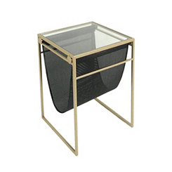 Gold Accent Table with Magazine Rack