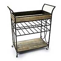 Wood and Metal Scroll Bar Cart