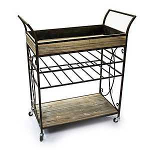 Wood and Metal Scroll Bar Cart