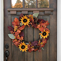 Sunflower Leaves Mix Wreath