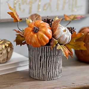 Metallic Harvest Pumpkin Arrangement