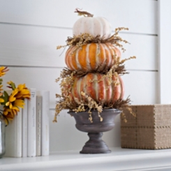 Stacked Pumpkin Urn Arrangement