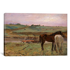 Horses In A Meadow Canvas Art Print