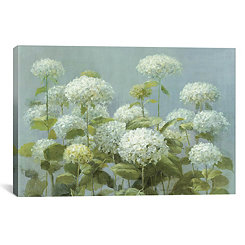 White Hydrangea Garden Canvas Art Print