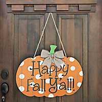 Happy Fall Y'all Polka Dot Pumpkin Wall Hanger