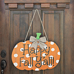 Happy Fall Y'all Polka Dot Pumpkin Wall Hanger