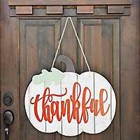 White Thankful Pumpkin Wall Hanger
