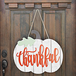 White Thankful Pumpkin Wall Hanger