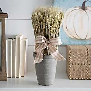 Dried Wheat Arrangement with Burlap Bow