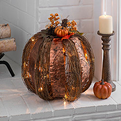 Pre-Lit Metal and Rattan Pumpkin, 17 in.
