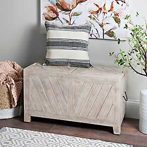 Whitewashed Sliding Top Storage Bench