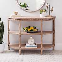 Rustic Natural Wood Curved Console Table