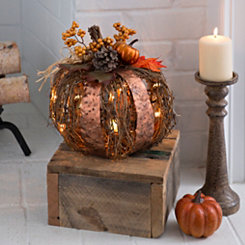 Pre-Lit Metal and Rattan Pumpkin, 12 in.