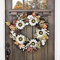 Cream Sunflower and Cotton Wreath
