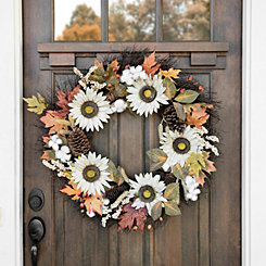 Cream Sunflower and Cotton Wreath