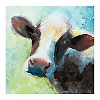 Blue Green Cow Canvas Art Print