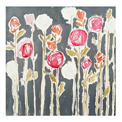 Modern Floral on Gray Canvas Art Print