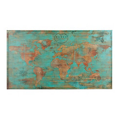 Turquoise and Gold World Map Canvas Art Print