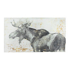 Gold Accented Moose Canvas Art Print