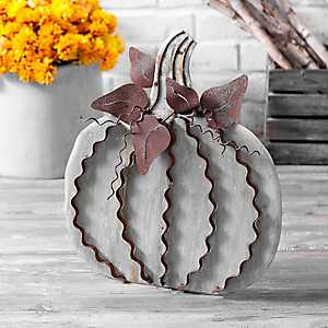 Small Galvanized Metal Easel Back Pumpkin