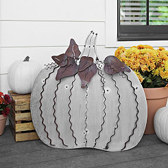 Large Galvanized Metal Easel Back Pumpkin