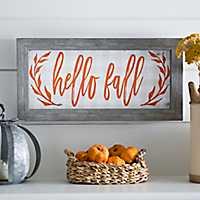Orange Script Hello Fall Framed Art Print