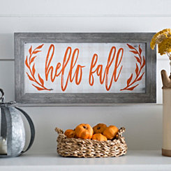 Orange Script Hello Fall Framed Art Print