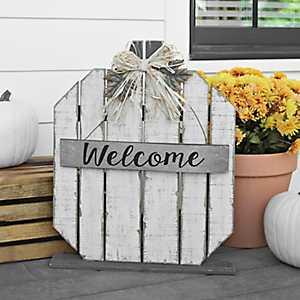 White Welcome Wood Plank Pumpkin Statue
