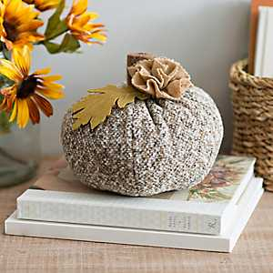 Brown Fabric Pumpkin Statue