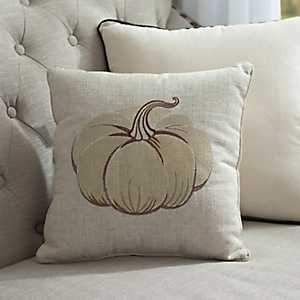 White Metallic Pumpkin Pillow