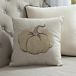 White Metallic Pumpkin Pillow
