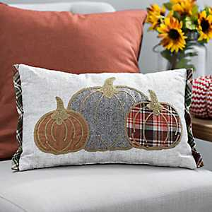 Plaid Pumpkins Stitched Accent Pillow