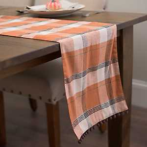 Orange Plaid Pumpkin Table Runner