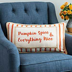 Striped Pumpkin Spice Harvest Pillow