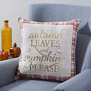 Pumpkins Please Plaid Pillow