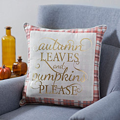 Pumpkins Please Plaid Pillow