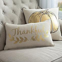 Gold Thankful Laurel Vine Accent Pillow