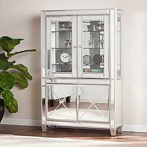 Lavina Lighted Mirrored Curio Cabinet