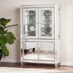 Lavina Lighted Mirrored Curio Cabinet