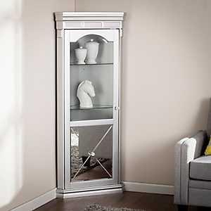 Lavina Lighted Mirrored Curio Corner Cabinet