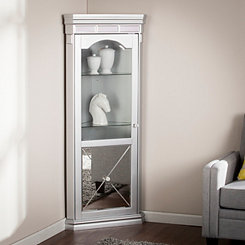 Lavina Lighted Mirrored Curio Corner Cabinet