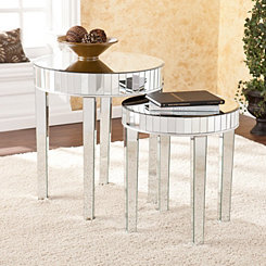 Holly Round Mirrored Nesting Tables, Set of 2