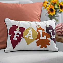 Fall Word Leaves Stitched Pillow