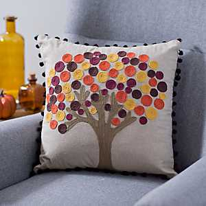 Fall Circle Leaf Tree Pillow